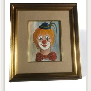 vintage CLOWN PaiNting on canvas Signed